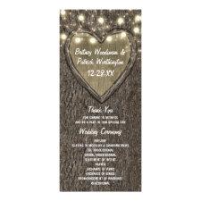 Rustic Carved Oak Tree Country Wedding Programs