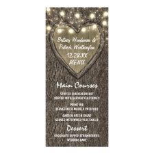 String Lights + Oak Tree Bark Wedding Menu Cards