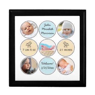Photo Collage Baby Boy Name, birth stats and duck Keepsake Box