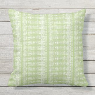 Celadon and White Outdoor Throw Pillow