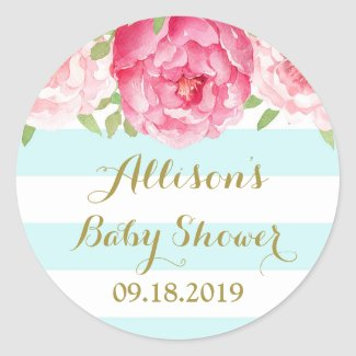 Blue Stripes Pink Floral Baby Shower Favor Tag Classic Round Sticker