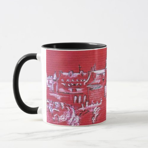 0087-French village in Winter mug