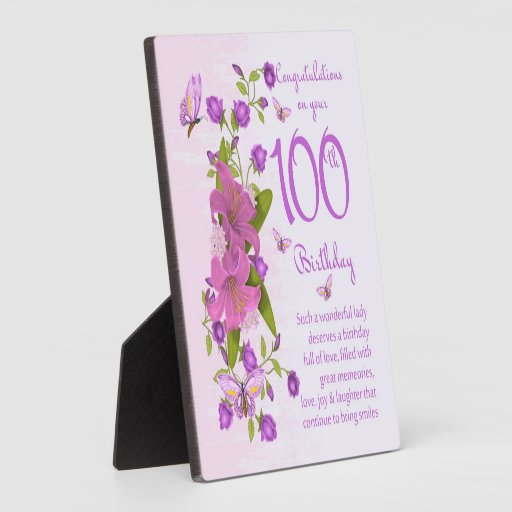 100th Birthday Gift Plaque 5.25 X 5.25 With Easel