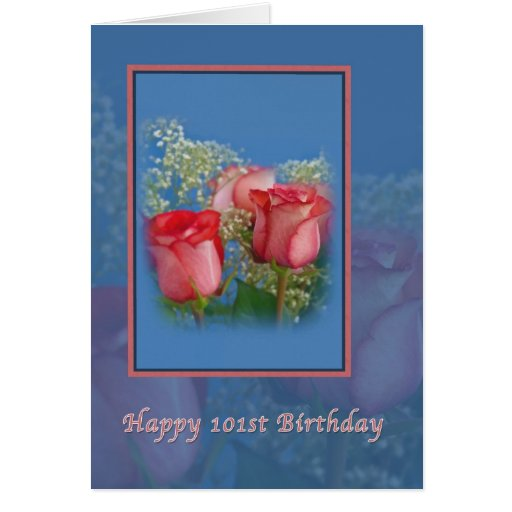 101st Birthday, Religious, Red Roses Greeting Card