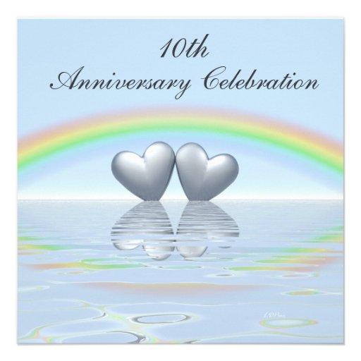 10th Wedding Anniversary Invitations: 10th Anniversary Tin Hearts Personalized Invite