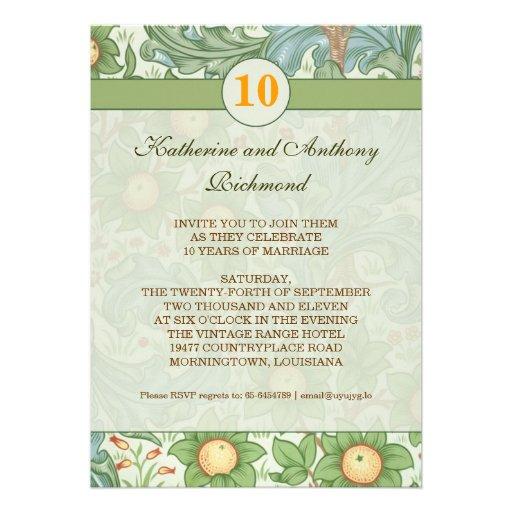 "10th Wedding Anniversary Invitations: 10th Floral Wedding Anniversary Invitations 5"" X 7"