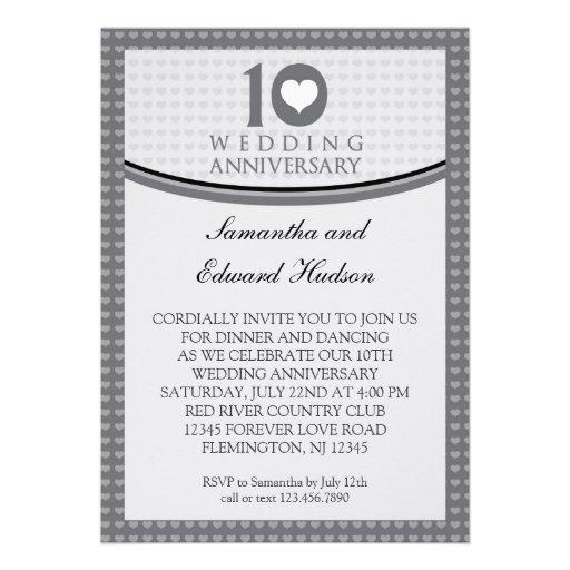 "10th Wedding Anniversary Invitations: 10th Heart Wedding Anniversary Invitation 5"" X 7"