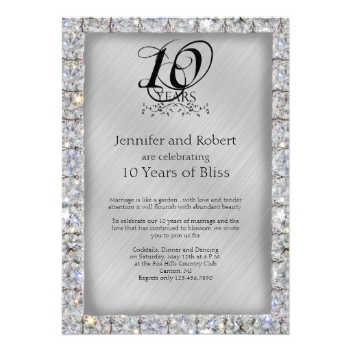 10th Wedding Anniversary Invitations: 10th Tin And Diamond Wedding Anniversary Announcements