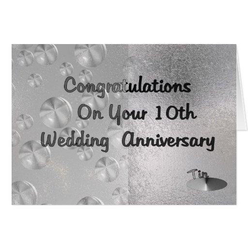 10th Wedding Anniversary Ideas: 10th Wedding Anniversary Greeting Card
