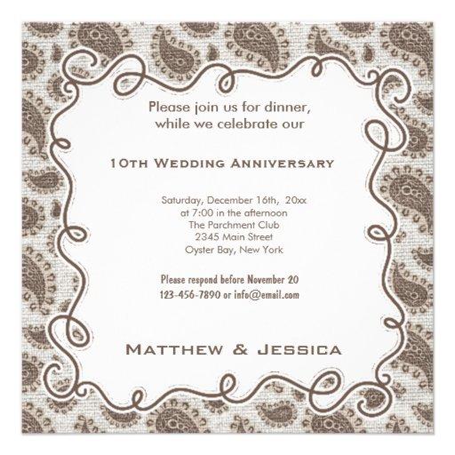 10th Wedding Anniversary Invitations: 10th Wedding Anniversary 5.25x5.25 Square Paper Invitation