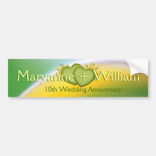 10th Wedding Anniversary Party Ideas: 10th Wedding Anniversary Party Decoration Bumper Sticker