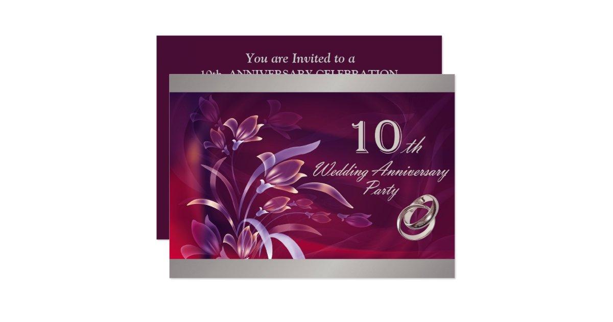 10th Wedding Anniversary Invitations: 10th Wedding Anniversary Party Invitations