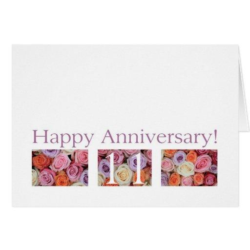 11th Wedding Anniversary Card Pastel Roses