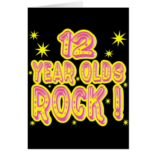 12 Year Olds Rock! (Pink) Greeting Card
