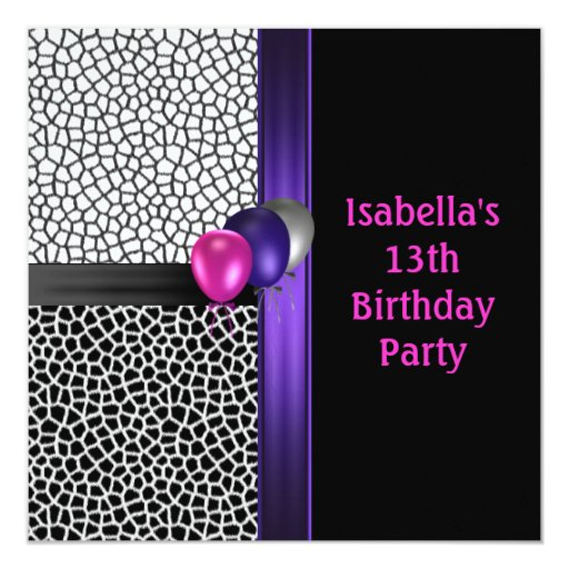 13th Birthday Black White Pink Purple Invitation