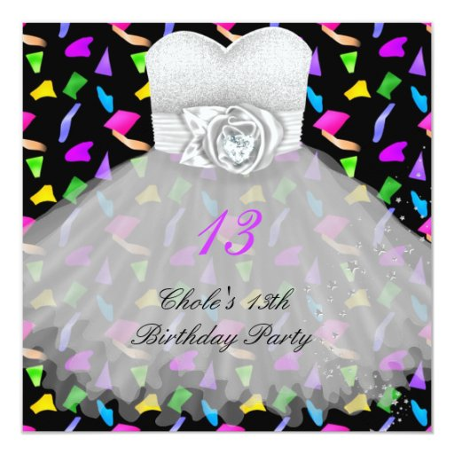 13th Birthday Party Girls 13 Teen Invitation