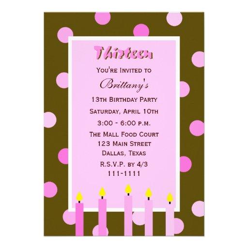13th Birthday Party Invitation Pink Polka Dots