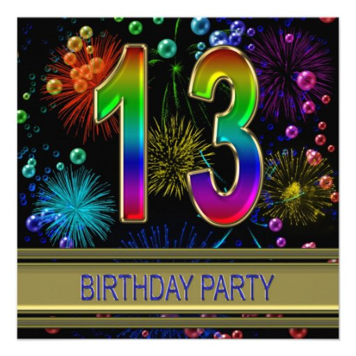 """13th Birthday Party Invitation With Bubbles 5.25"""" Square"""