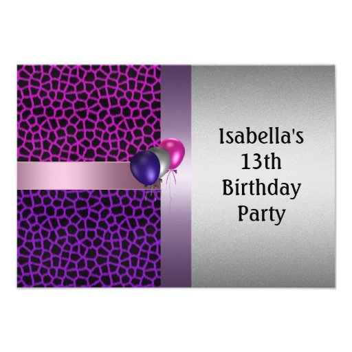 "13th Birthday Purple Pink Black Pattern & Balloons 3.5"" X"