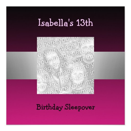 13th Birthday Sleepover Silver Pink Photo 2 13 Cm X 13 Cm
