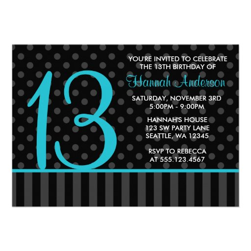 13th Birthday Teal Blue Black Polka Dot Stripes 5x7 Paper