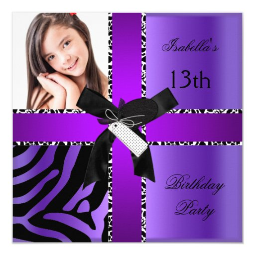 13th Birthday Zebra Cow Purple Black White Invitation