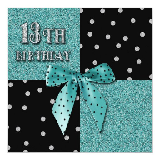 13TH GIRLY TEAL BIRTHDAY PARTY INVITATIONS