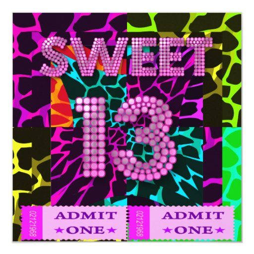 13th Sweet 13 Birthday Party Mixed Animal Print Invitation