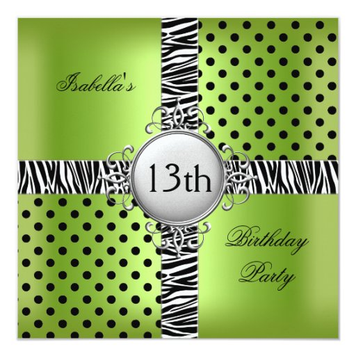 13th Teen Birthday Party Lime Green Black Zebra Invitation