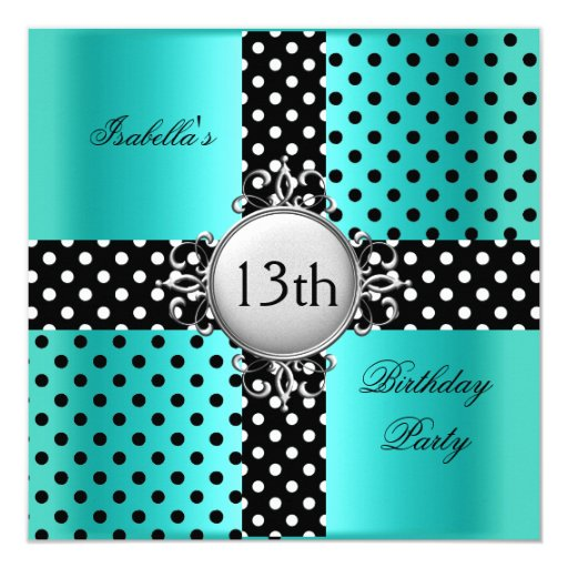 13th Teen Birthday Party Teal Blue Black Polka Dot