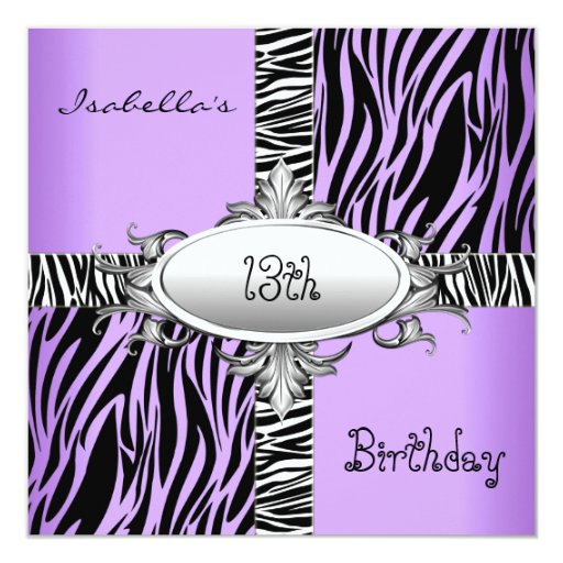 13th Teen Birthday Zebra Wild Purple Animal Black