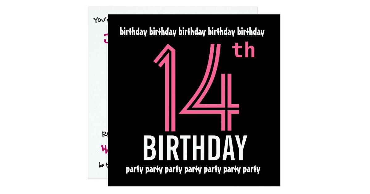 14th Birthday Party Invitation Template Pink Black Zazzle