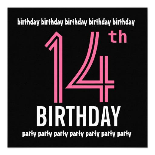14th Birthday Party Invitation Template Pink Black 5.25