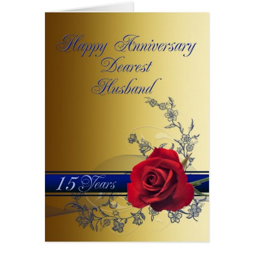 15 Year Wedding Anniversary Gift For Husband: 15th Anniversary Card For Husband With A Red Rose