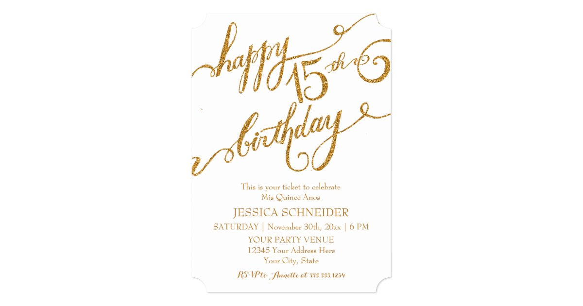 15 Anos Flats: 15th Mis Quince Anos, Quinceanera Birthday Ticket Card