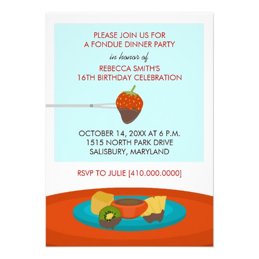 "16th Birthday Fondue Dinner Party Invitations 5"" X 7"