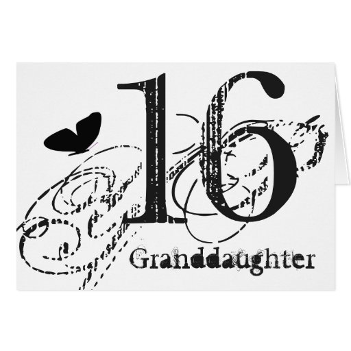 16th Birthday For A Granddaughter, Butterfly. Card