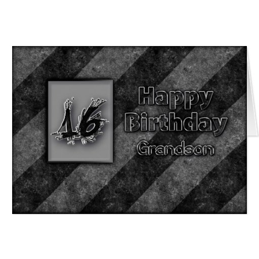 16th BIRTHDAY - GRANDSON - GRUNGE Card
