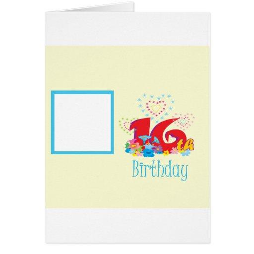 16th Birthday Photo Frame Greeting Card