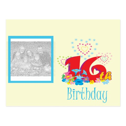 16th Birthday Photo Frame Postcard