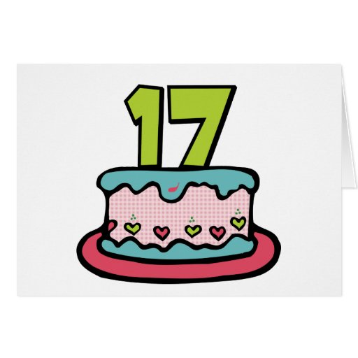 17 Year Old Birthday Cake Greeting Card