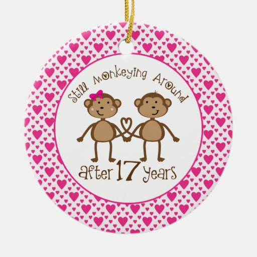 Gift For 17th Wedding Anniversary: 17th Anniversary Monkey Love Ornament