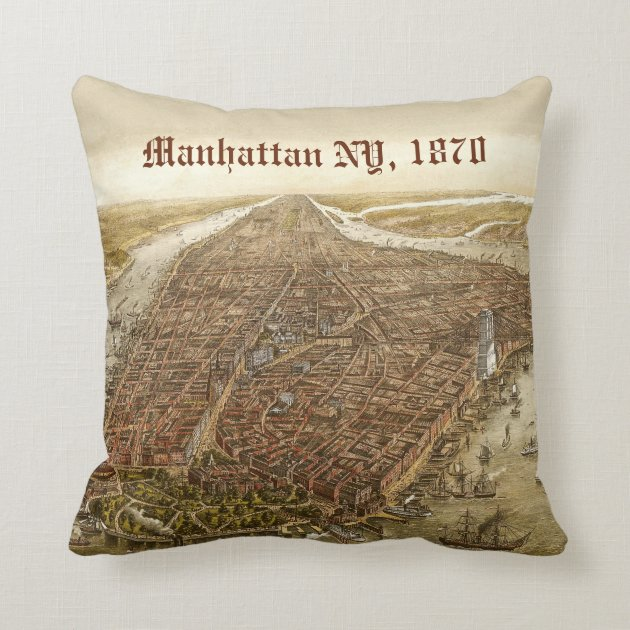 Old Map Of New York.1870 Manhattan New York City Vintage Old Map Pillow