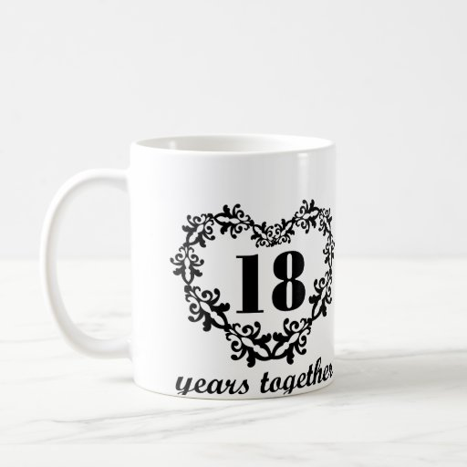 Gifts For 18th Wedding Anniversary: 18th Anniversary 18 Years Together Heart Gift Mug