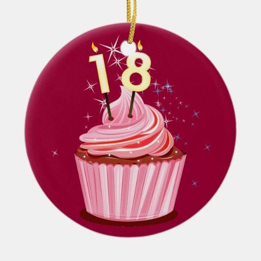 18th Birthday - Pink Cupcake Ceramic Ornament
