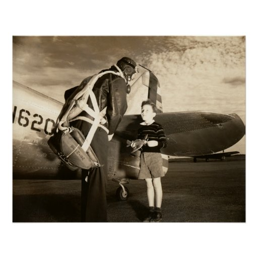 1940 American Military Pilot And Young Boy Poster