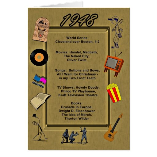 1948 Great Events Birthday Card Greeting Cards