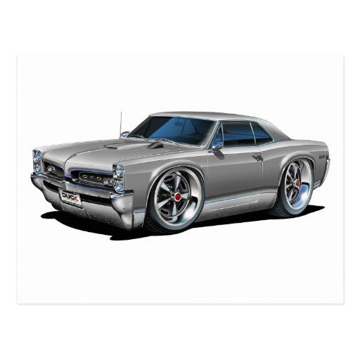 Grey Car: 1966/67 GTO Silver/Grey Car Postcard