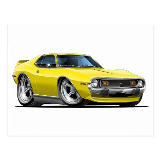 1971-72 Javelin Yellow Car PostcardYellow Javelin Car