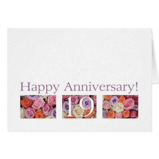 Gifts For 19th Wedding Anniversary: 19th Wedding Anniversary Card Pastel Roses